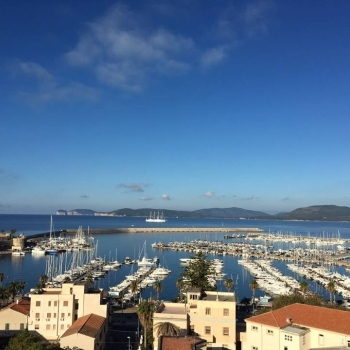Sunny day on the port of Alghero