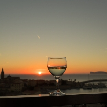 Sunset lights reflected in a goblet