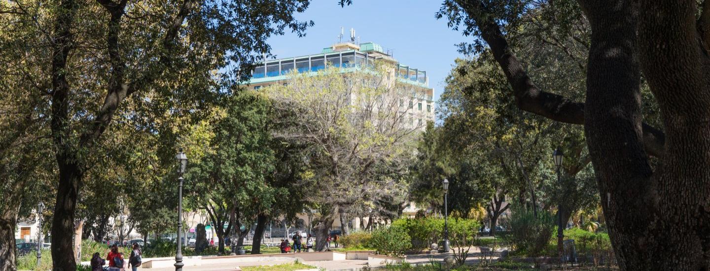 Vista dell'Hotel dai Giardini Giuseppe Manno
