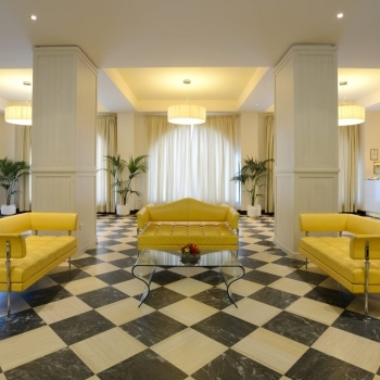 Waiting room with comfortable sofas
