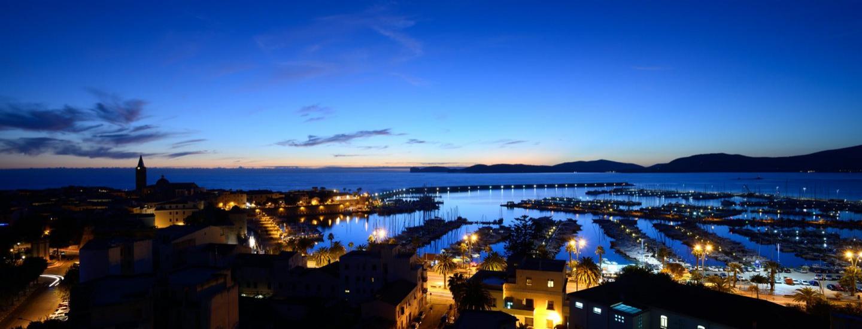 Panorama serale dal Blau Skybar