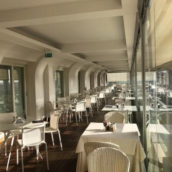 Tables on the terrace of the Blau Skybar
